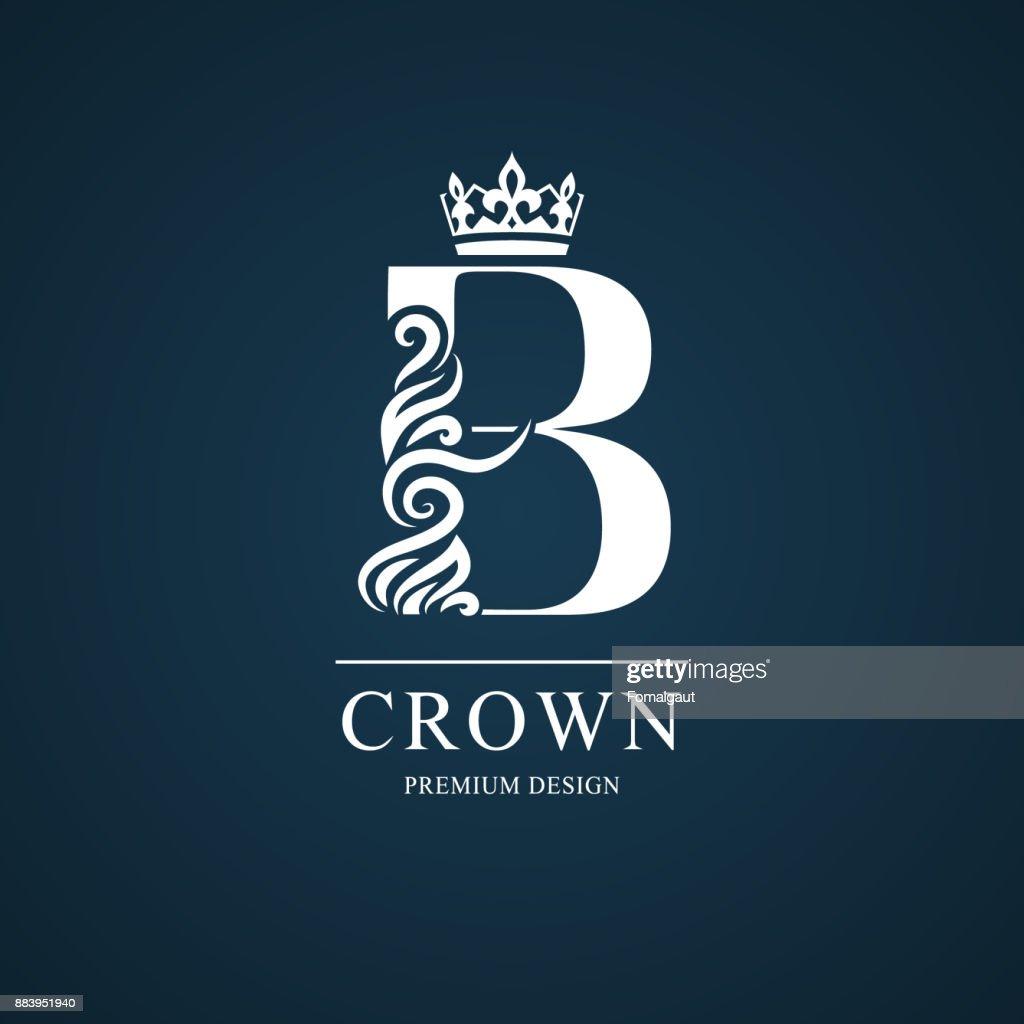 Elegant letter B with crown. Graceful style. Calligraphic beautiful sign. Vintage drawn emblem for book design, brand name, business card, Restaurant, Boutique, Hotel. Vector illustration