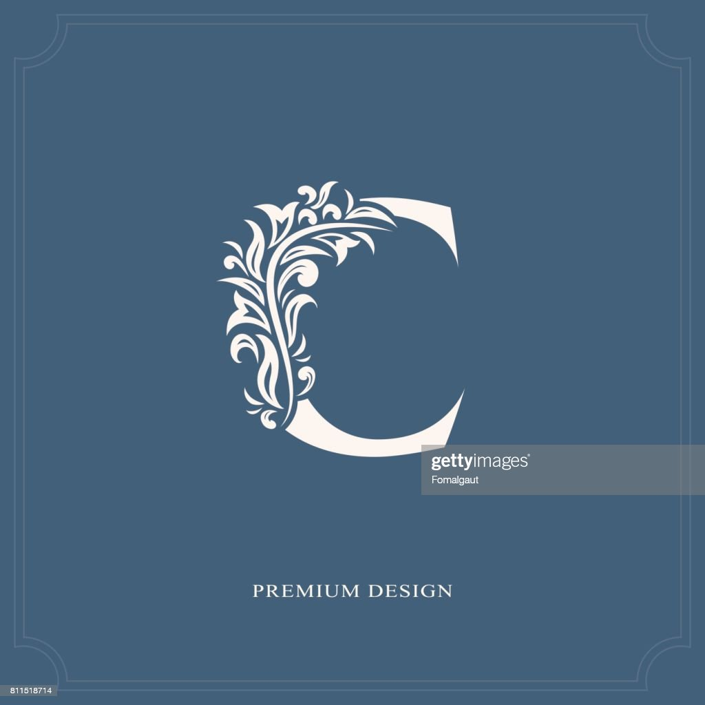 Elegant letter C. Graceful style. Calligraphic beautiful sign. Vintage drawn emblem for book design, brand name, business card, Restaurant, Boutique, Hotel. Vector illustration