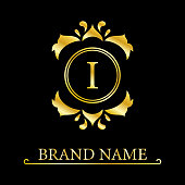 Elegant letter I. Graceful royal style. Calligraphic beautiful logo. Vintage drawn emblem for book design, brand name, business card, Restaurant, Boutique, Hotel. Vector illustration