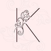 elegant letter k thin line vintage