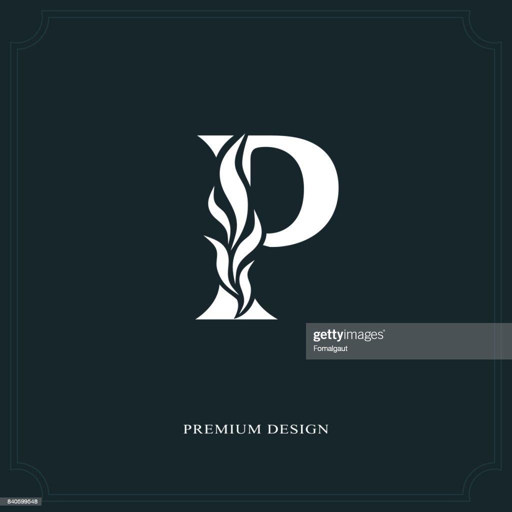 Elegant letter P. Graceful style. Calligraphic beautiful sign. Vintage drawn emblem for book design, brand name, business card, Restaurant, Boutique, Hotel. Vector illustration