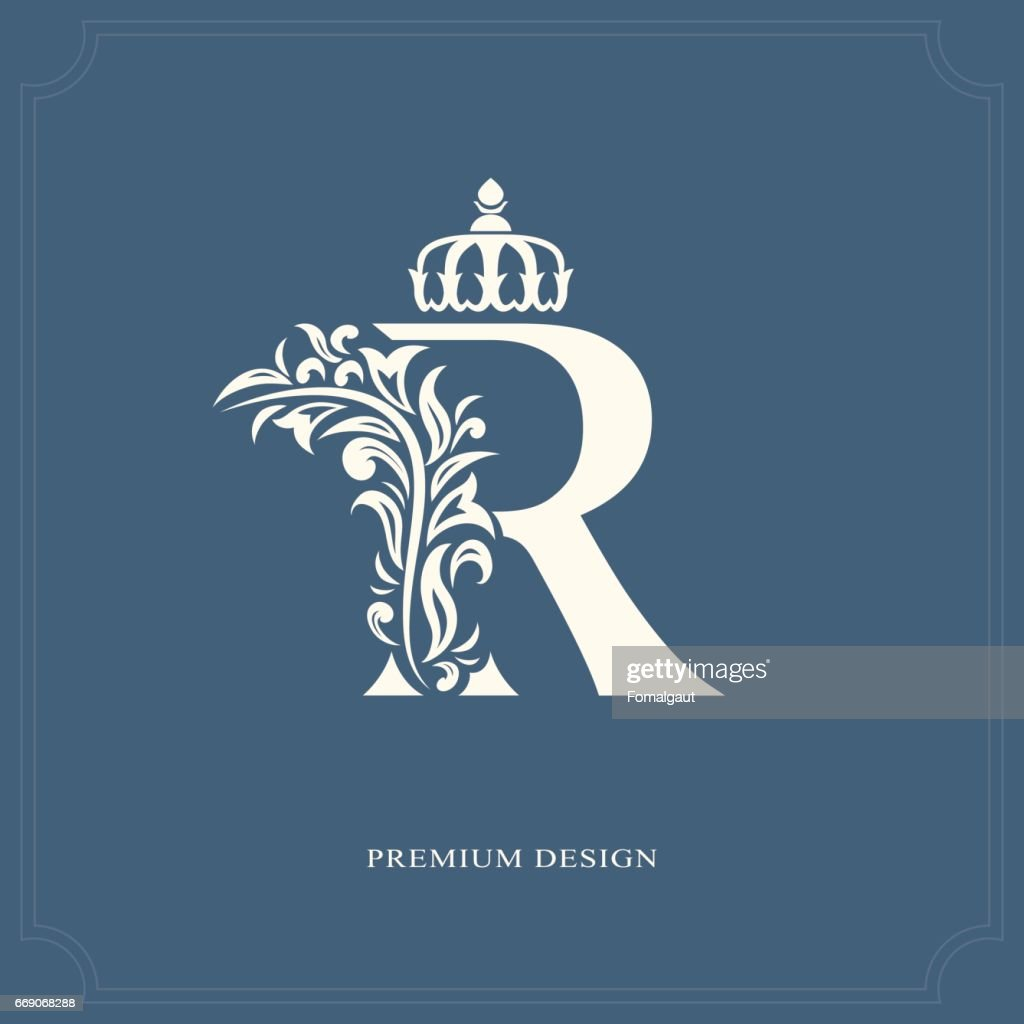 Elegant Letter R With A Crown Graceful Royal Style Vector Art