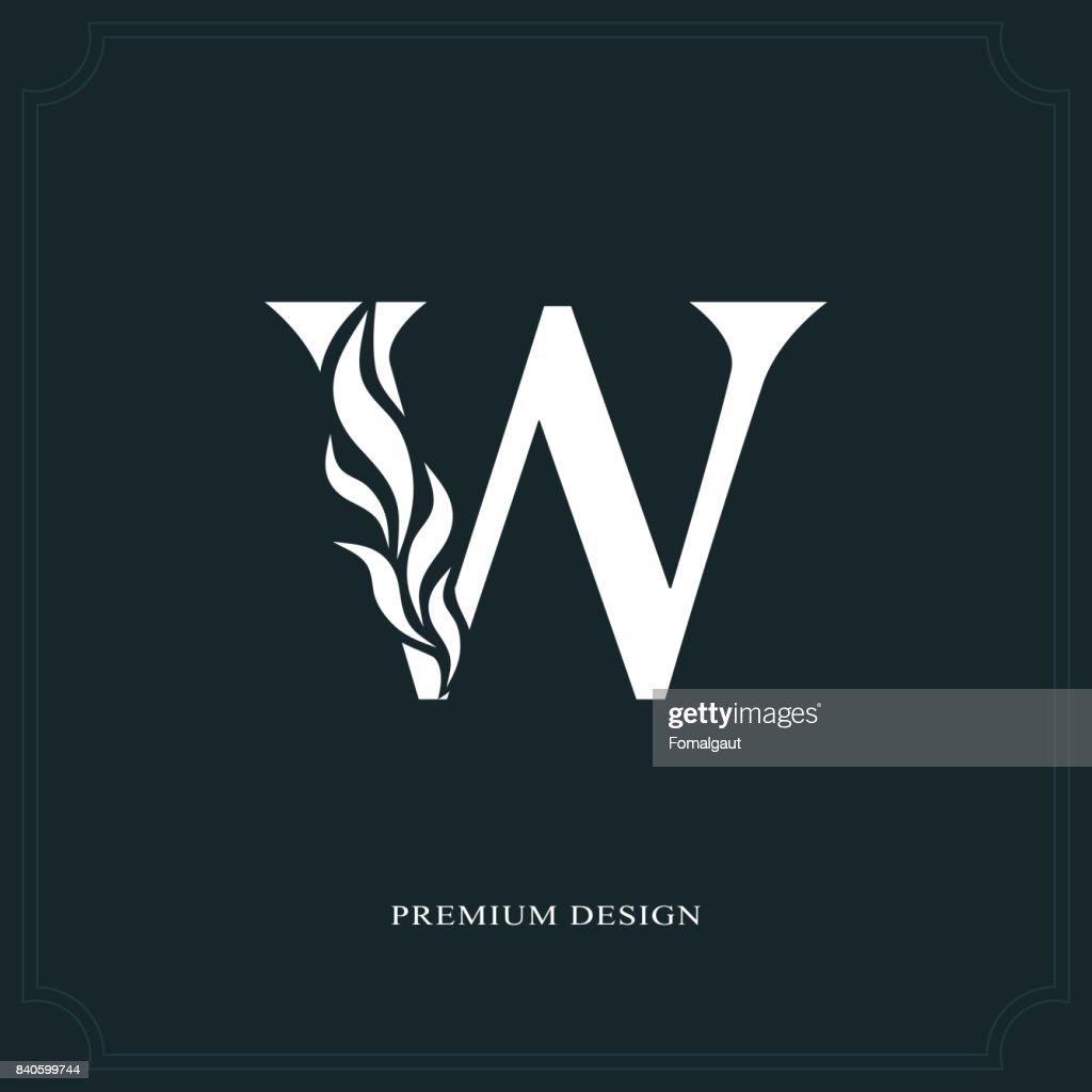 Elegant letter W. Graceful style. Calligraphic beautiful sign. Vintage drawn emblem for book design, brand name, business card, Restaurant, Boutique, Hotel. Vector illustration