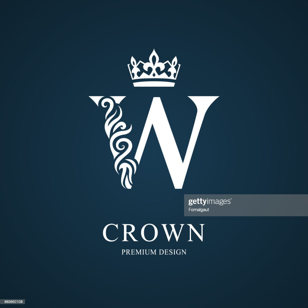 Elegant letter W with crown. Graceful style. Calligraphic beautiful sign. Vintage drawn emblem for book design, brand name, business card, Restaurant, Boutique, Hotel. Vector illustration