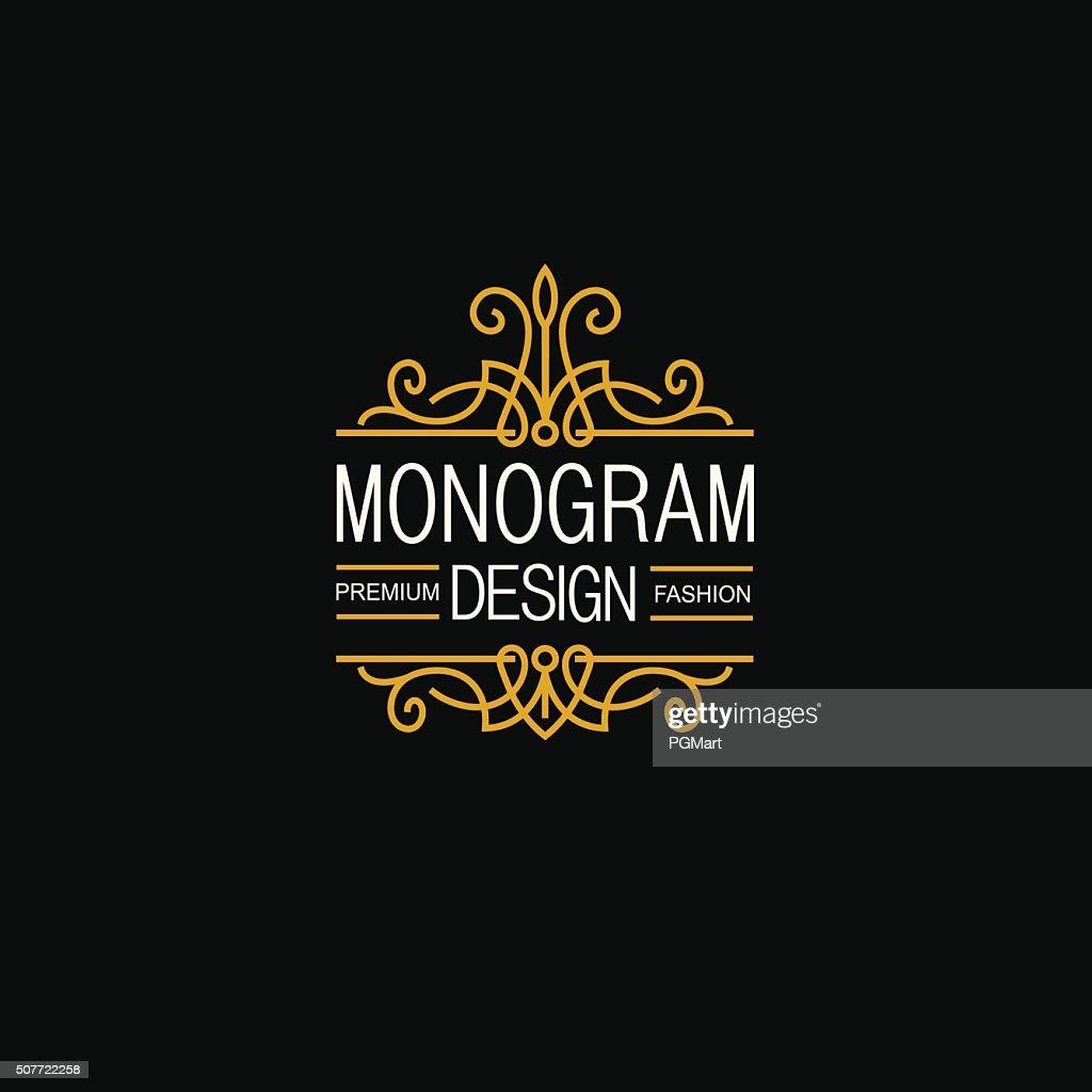 Elegant Line Art Logo and Monogram Design, vector template.