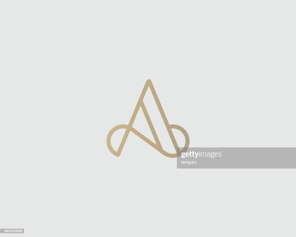 Elegant line curve vector emblemtype. Premium letter A emblem design. Luxury linear creative monogram.