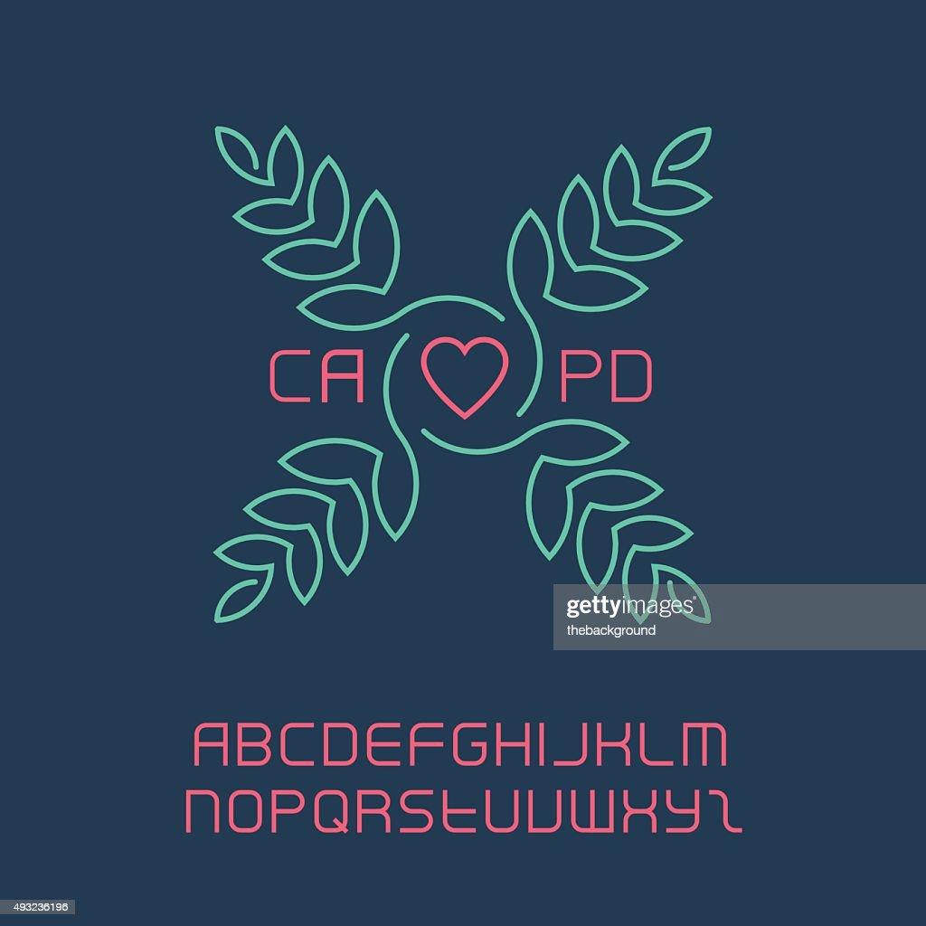 Elegant lineart logo design, including the full original font.