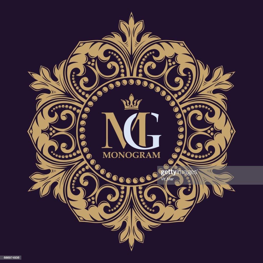 Elegant lines of calligraphic ornament. Golden decorative frame. Heraldic symbols.