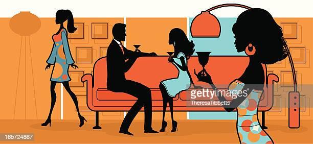 elegant living - party social event stock illustrations