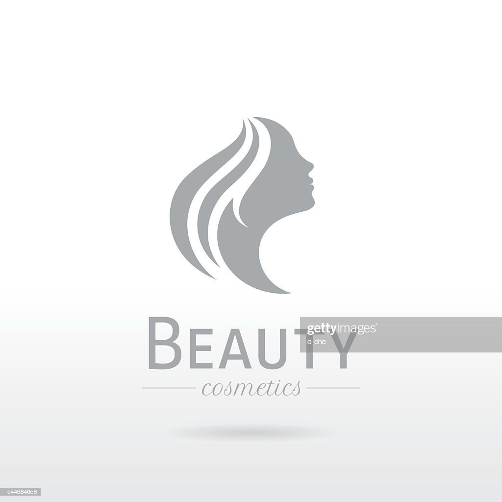 Elegant luxury logo. Beautiful young woman face with long hair
