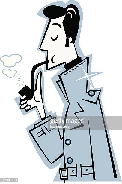 Elegant man in a raincoat and smoking pipes. Detective investigating