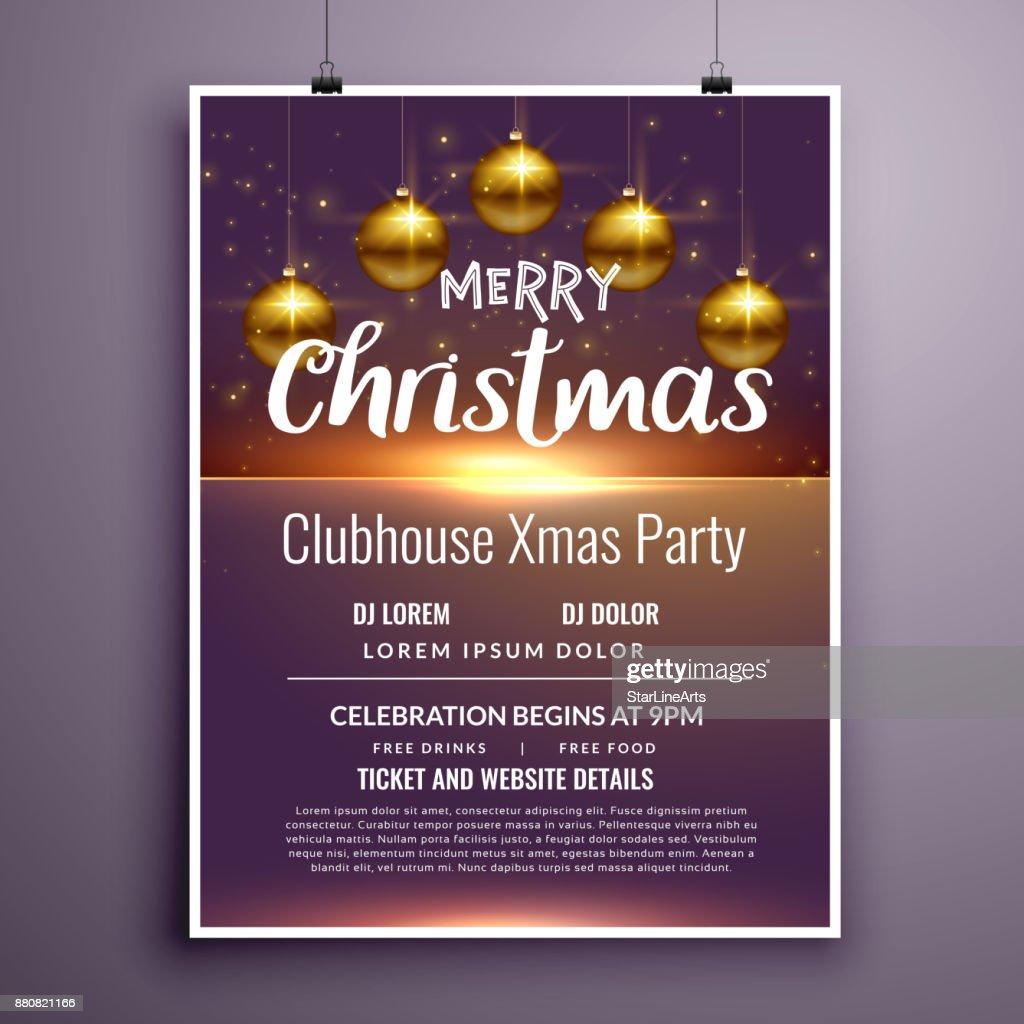 elegant merry christmas party flyer invitation template design