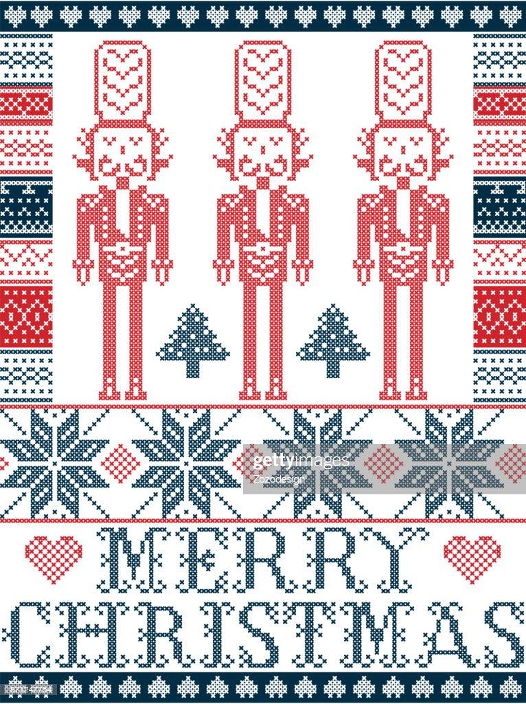 Elegante Frohe Weihnachten Skandinavisch Nordic Winter Stilmuster ...