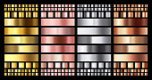 Elegant metallic gradient. Shiny rose gold, silver and bronze medals gradients. Golden, pink copper and chrome metal vector collection