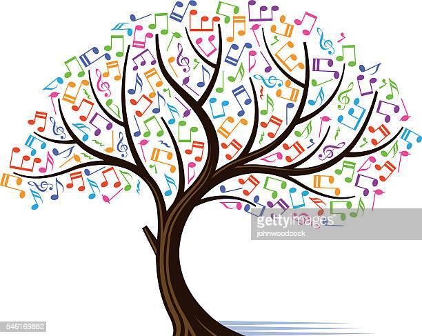 elegant music tree illustration - treble clef stock illustrations, clip art, cartoons, & icons