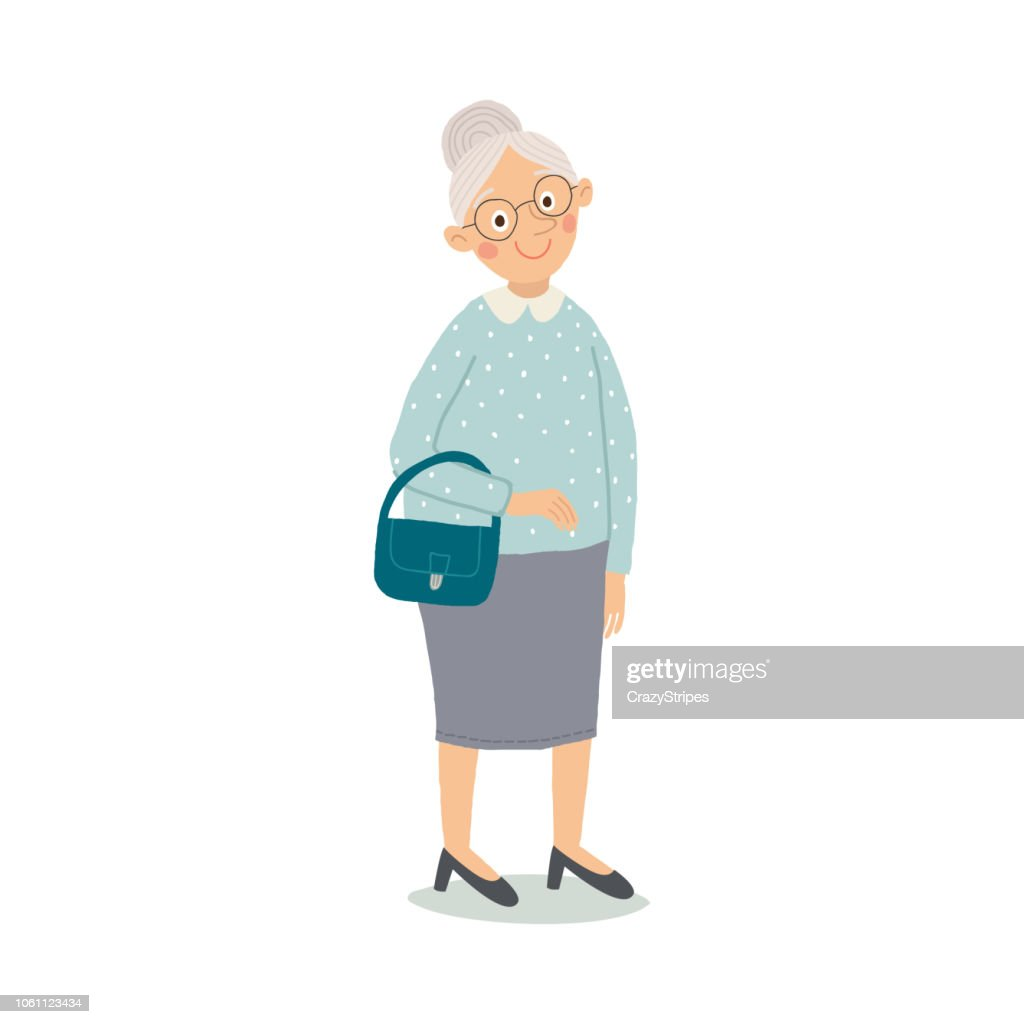 Elegant old woman cartoon character. Stylish ageless lady with glasses and handbag. Cartoon vector hand drawn eps 10 illustration isolated on white background in a flat style.