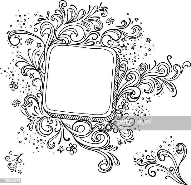 elegant ornate frame in black and white - bling bling stock illustrations, clip art, cartoons, & icons