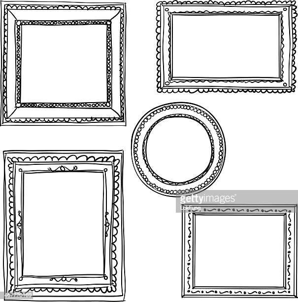 elegant ornate frames in black and white - framing stock illustrations, clip art, cartoons, & icons