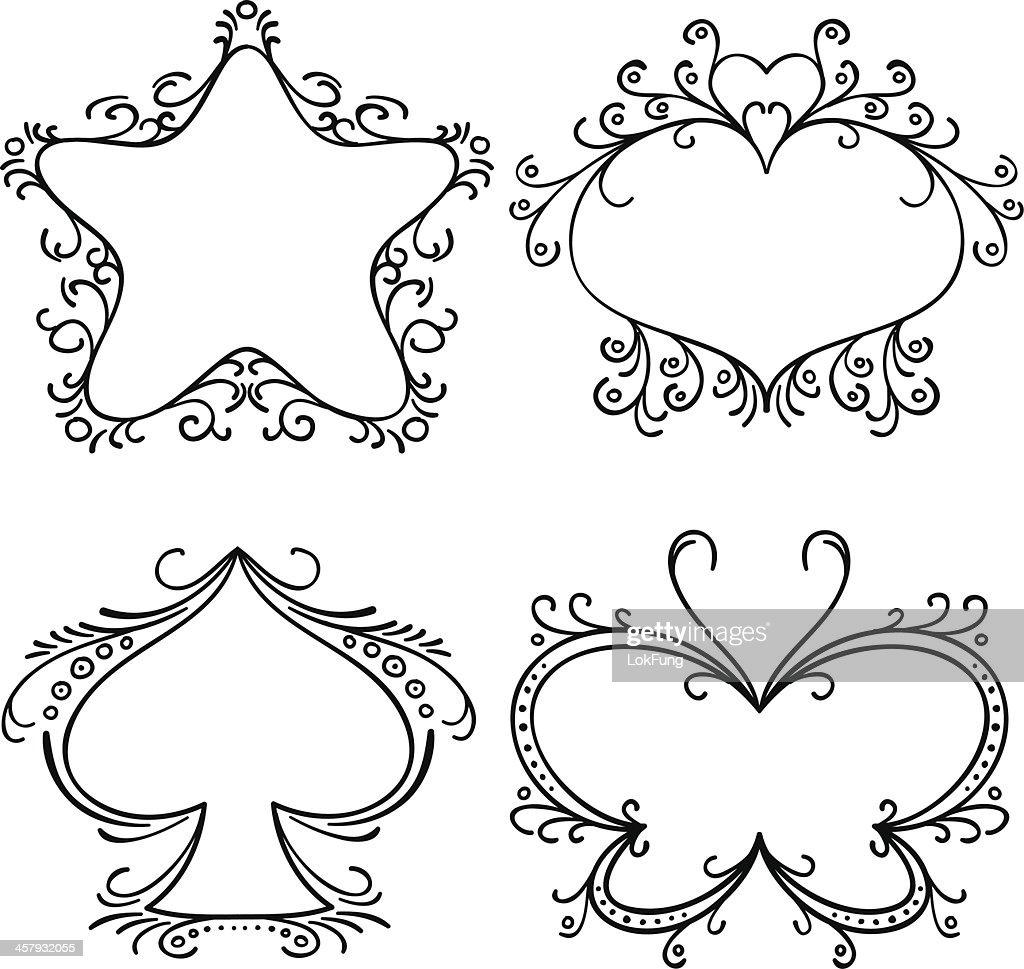 Elegante Verzierten Rahmen In Schwarz Und Weiß Vektorgrafik | Getty ...
