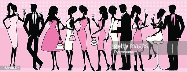 elegant party people - party social event stock illustrations