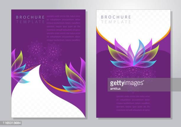 elegante blütenblätter broschüre - blütenblatt stock-grafiken, -clipart, -cartoons und -symbole