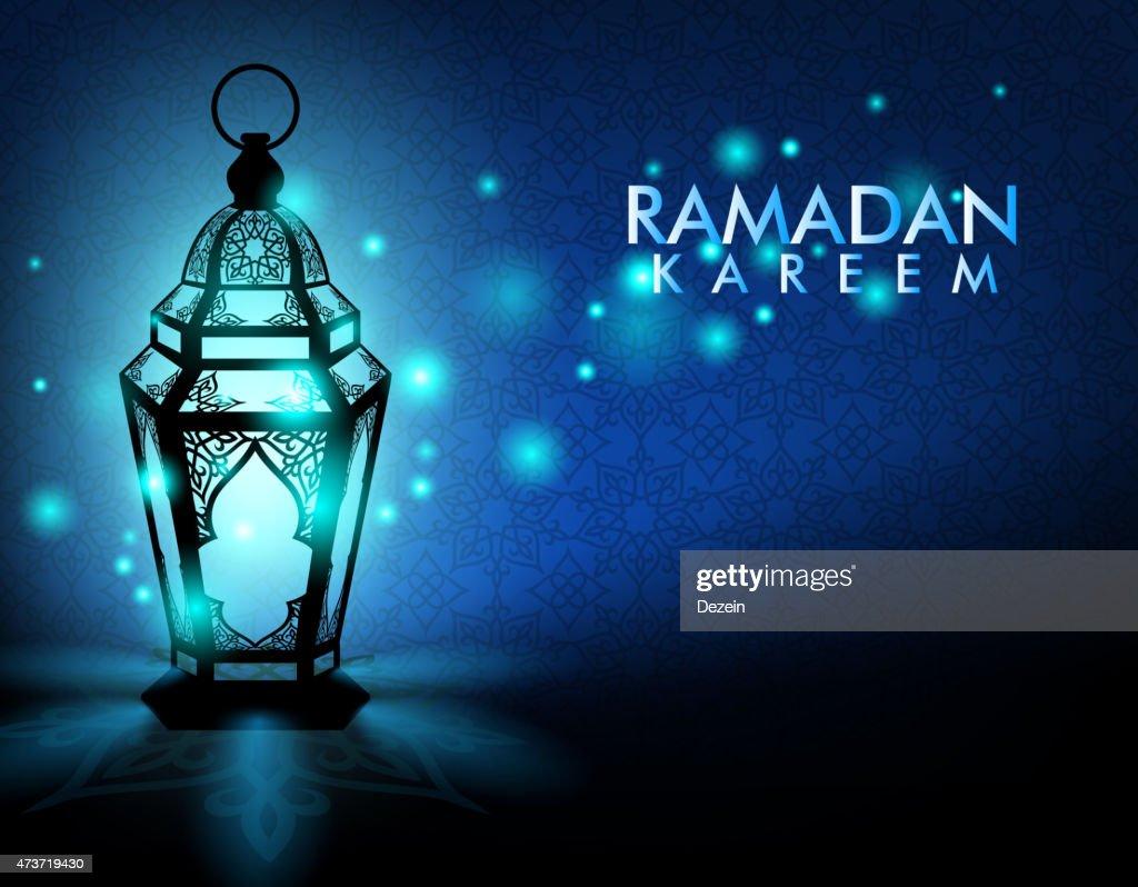 Elegant Ramadan Kareem card with famous lantern on blue