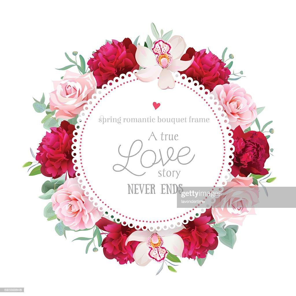Elegant red peonies, orchid, rose, camellia, eucalyptus round vector frame