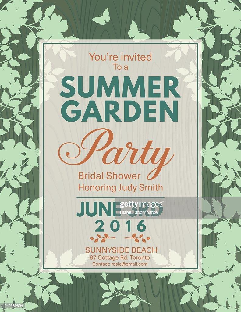 Elegant Roses Bridal Shower Garden Party Invitation Vector Art