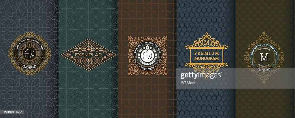 Elegant set of design elements, labels, icon, frames, seamless backgrounds
