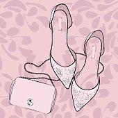 Elegant shoes, flats, sandals with a purse bag, fashion illustration. Summer, spring wedding, invitation cards and shop banner