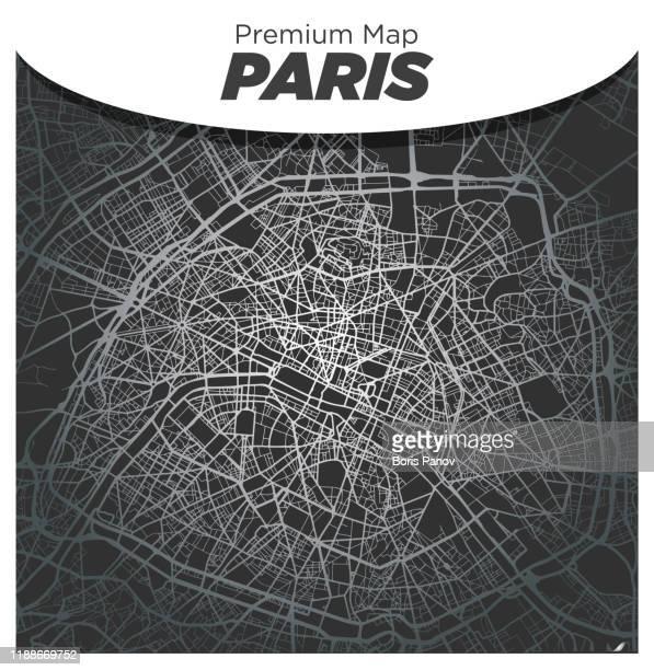illustrations, cliparts, dessins animés et icônes de carte argentée élégante du centre-ville de paris sur le fond gris foncé - plan