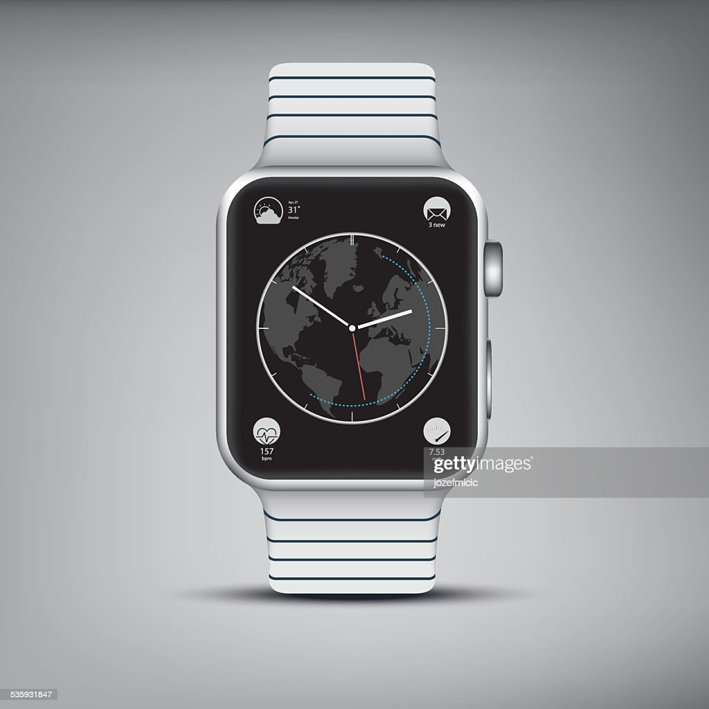 Elegant silver smart watch with steel band and apps on : Vector Art