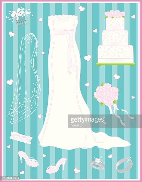 elegant simplicity-bridal gown and accessories - animal heart stock illustrations, clip art, cartoons, & icons