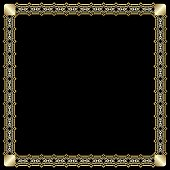 Elegant square border with 3d embossed effect. Ornate luxurious golden frame in art deco style on black background. Unusual decorative label design
