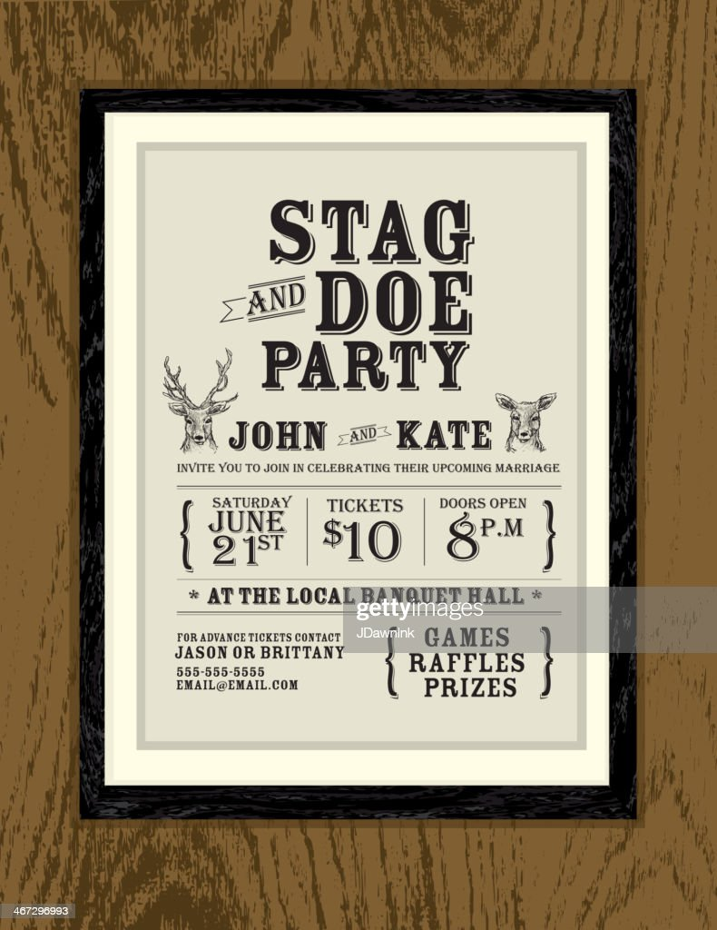 Elegant Stag And Doe Engagement Oak Wood Party Invitation Template ...