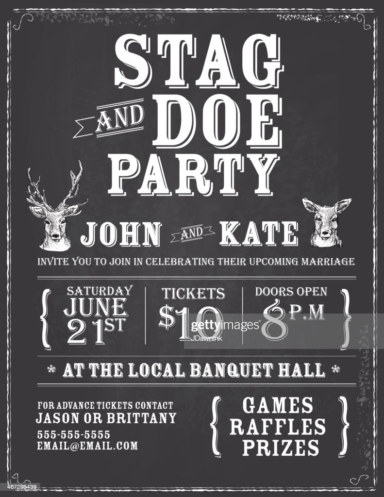stag tickets template free - elegant stag and doe engagement party chalkboard