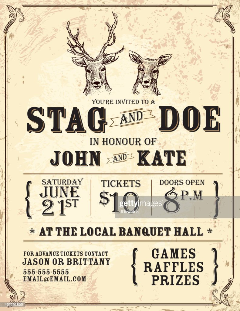 Elegant stag and doe engagement party invitation design template elegant stag and doe engagement party invitation design template vector art monicamarmolfo Choice Image