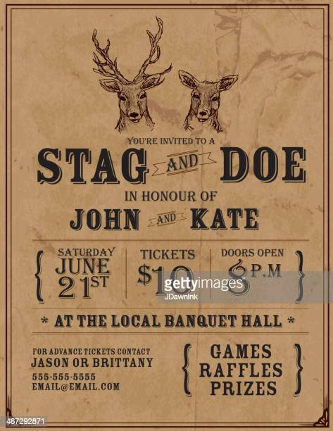 elegant stag and doe engagement party invitation design template - stag stock illustrations