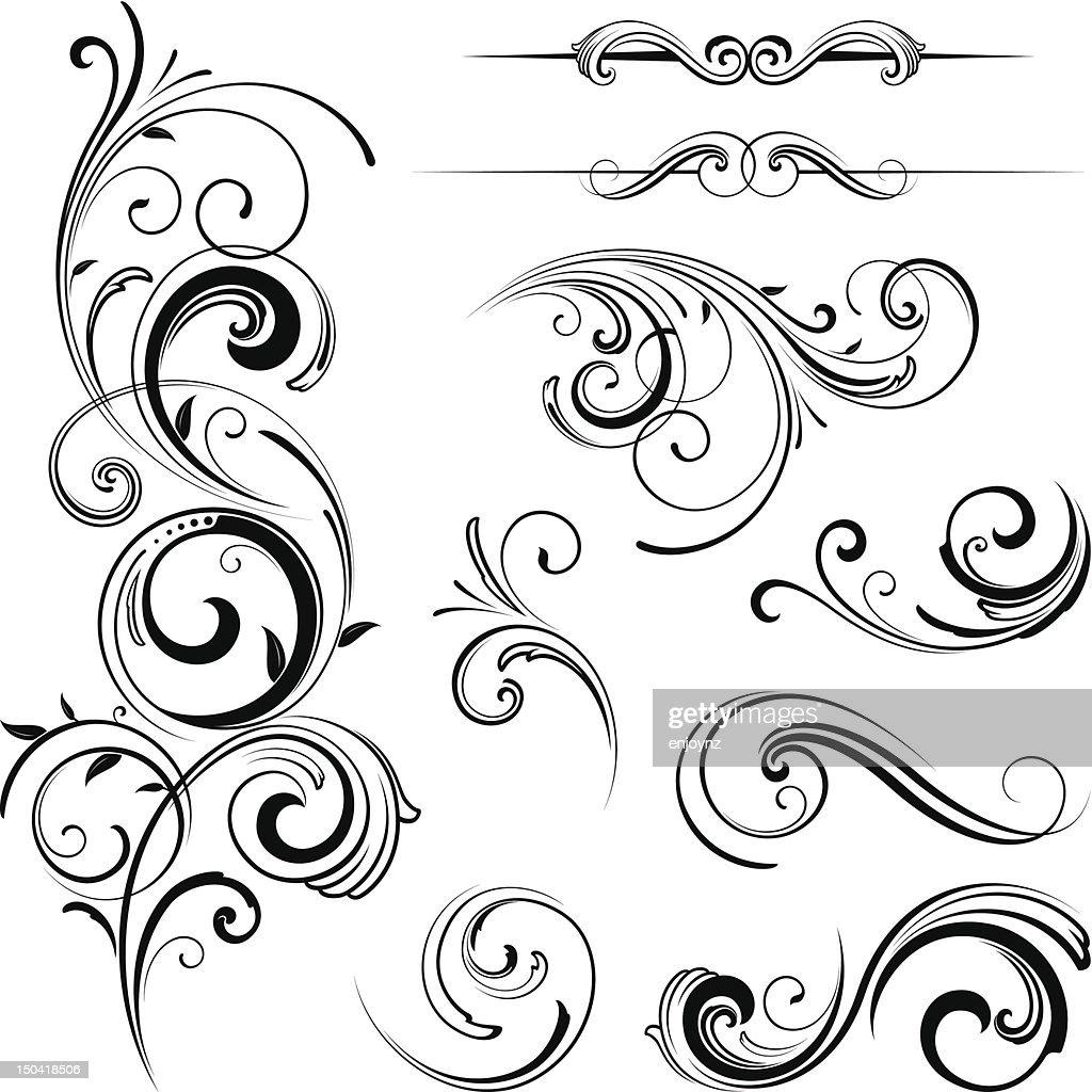 Elegante geschwungene Verzierungen : Stock-Illustration