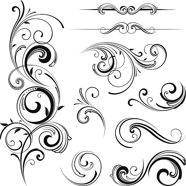 elegant swirling flourishes - swirl stock illustrations