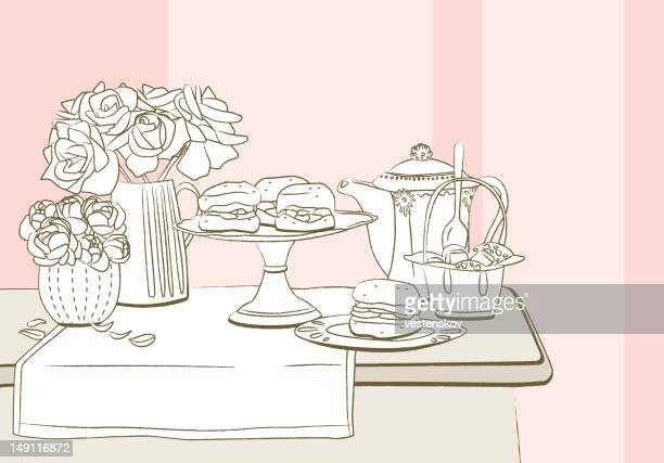 Elegant table set with rose, peony scone and tea