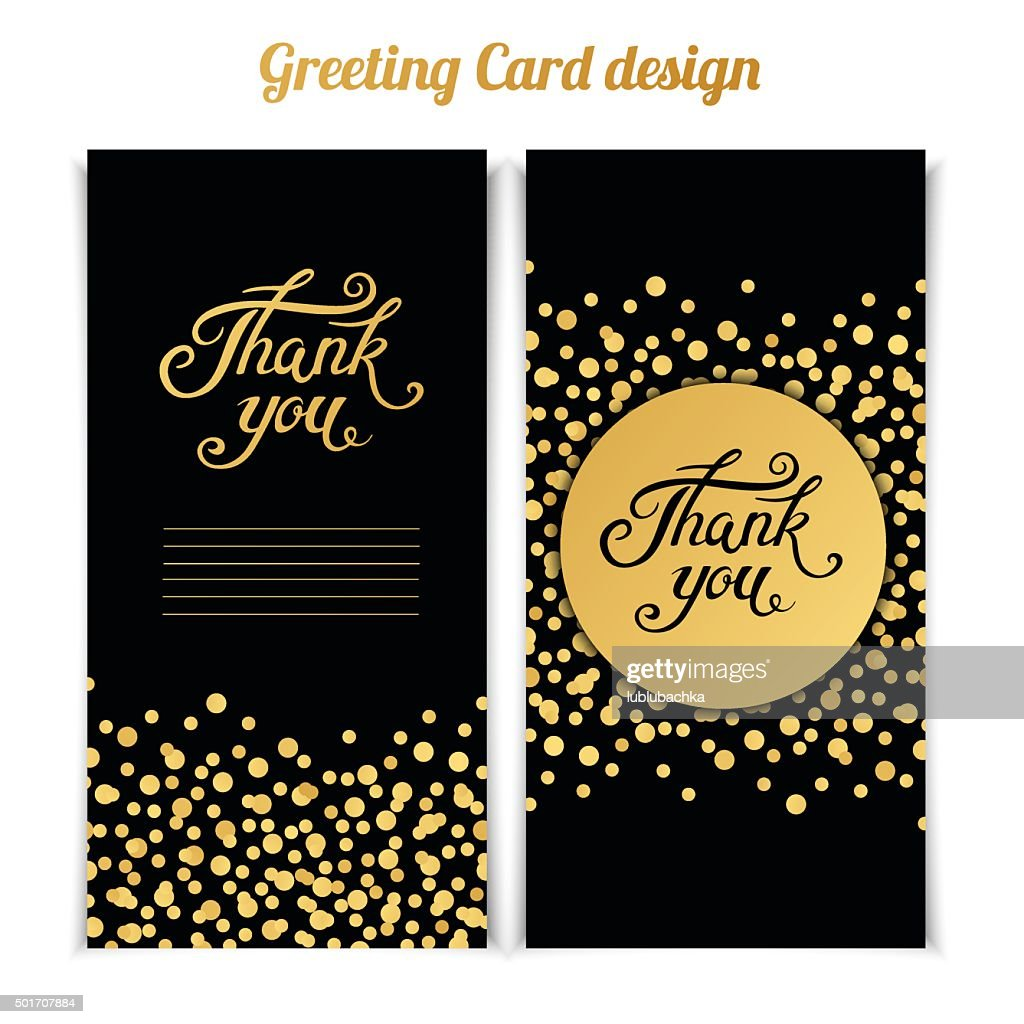 Elegant Thank You card template with golden bokeh dots.