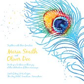 Elegant vector background with watercolor peacock feather