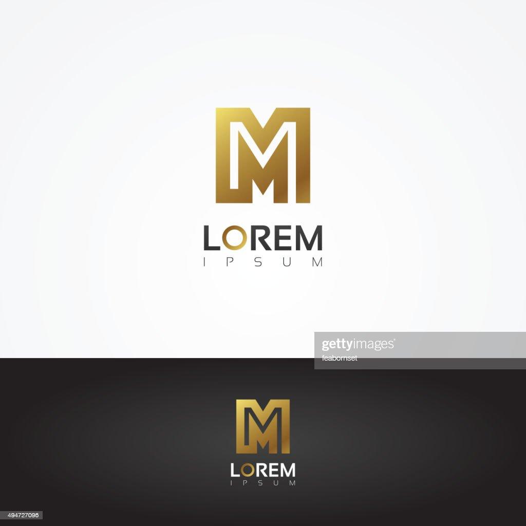 Elegant vector graphic gold alphabet symbol / letter M