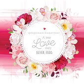Elegant vector round card with flowers and watercolor style texture