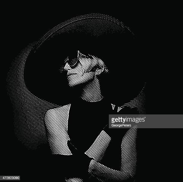 Elegant Vintage Diva Wearing Large Hat