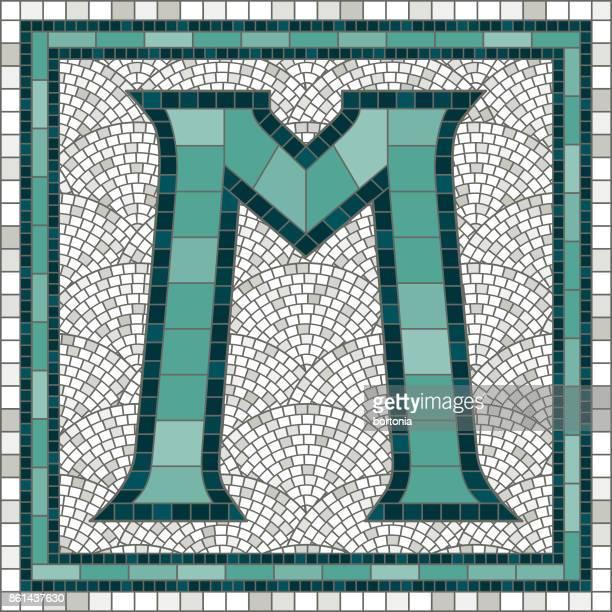 elegant vintage tile mosaic design - letter m stock illustrations, clip art, cartoons, & icons