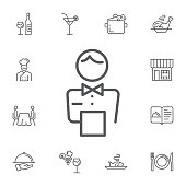 elegant waiter character icon. Simple Set of restaurant Vector Line Icons.