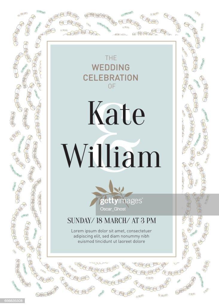 Elegant wedding invitation card in retro style with abstract beaded elegant wedding invitation card in retro style with abstract beaded decorations vector art stopboris Image collections