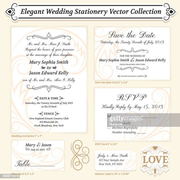 Elegant Wedding Invitation Template royalty free vector Collection